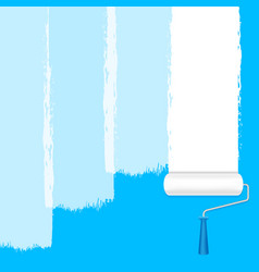 paint roller white on blue wall for banner vector image