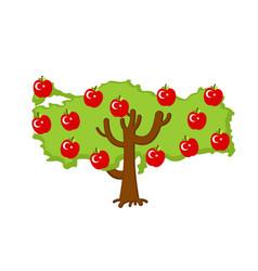 patriotic apple tree turkey map apples turkish vector image