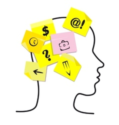 People head with memory stickers vector image