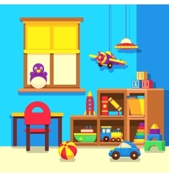 Preschool kindergarten classroom with toys cartoon vector