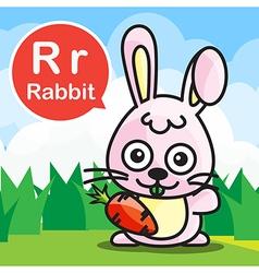 R rabbit color cartoon and alphabet for children vector