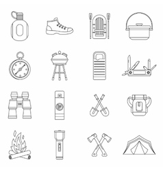 Recreation tourism icons set outline style vector