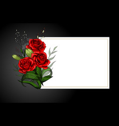 Rose flower bouquet on white frame with black vector