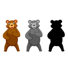 set grizzly bear character vector image