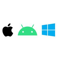 Set popular operating system logos vector