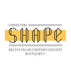 shape stroke font alphabet vector image