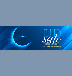 Shiny blue eid mubarak sale banner design vector