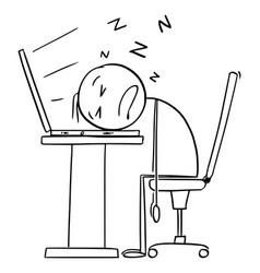 Sleeping on computer keyboard tired or overworked vector