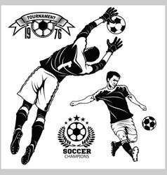 Soccer football players running and kicking a ball vector