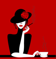 stylized woman with cigar and cup of coffee vector image