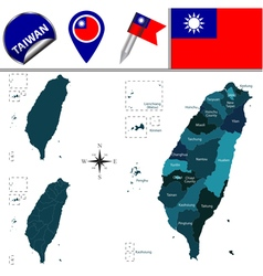 Taiwan map with named divisions vector image
