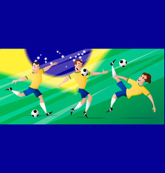 Team brazil football soccer players set vector