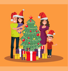 the family is standing near the christmas tree vector image