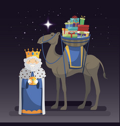 Three kings day with king melchior camel and vector