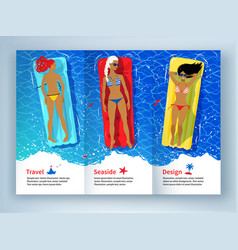 Three young women floating on pool rafts vector
