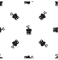 Toy bucket and shovel pattern seamless black vector