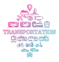transport with gradient outline icons vector image