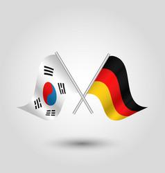 two crossed korean and german flags vector image