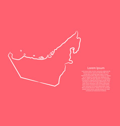 United arab emirates map from contour pink vector