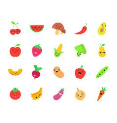 Vegetables and fruits cute kawaii flat design vector
