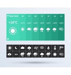 Weather widget ui set flat design trend vector