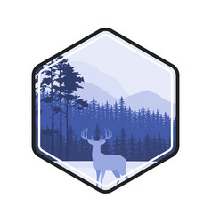 winter forest deer label pine landscape mountains vector image