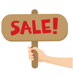 woman hand holding a sale sign post vector image