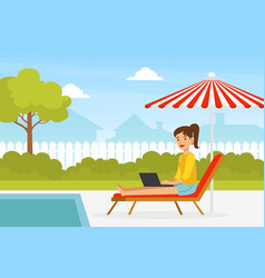 young woman sitting in deck chair with laptop vector image
