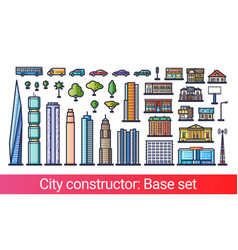 city constructor flat line vector image vector image