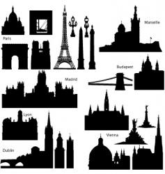 european monuments vector image vector image