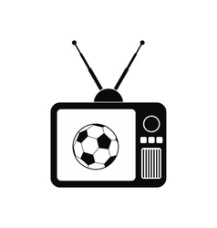Football match on an old TV icon vector image