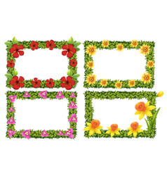 Frame template with colorful flowers vector