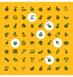 Fruits and vegetables set of icons vector image