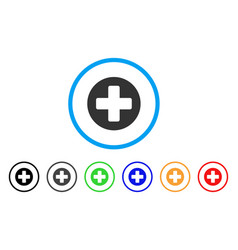 medical rounded cross rounded icon vector image