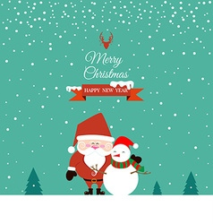 Santa claus and snowman on christmas day vector