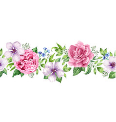 seamless floral background in watercolor style vector image