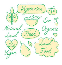 set of eco food lettering and symbols in sketch vector image