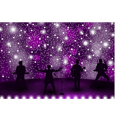 band show concept with violet light and stars set vector image