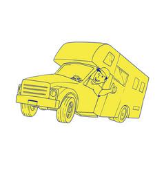 driver thumbs up camper van cartoon vector image vector image