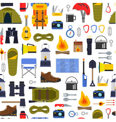 flat style camping elements pattern or vector image