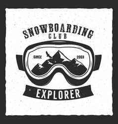 snowboarding goggles extreme logo and label vector image
