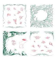 Spring Ornamental Frames and Symbols Set vector image