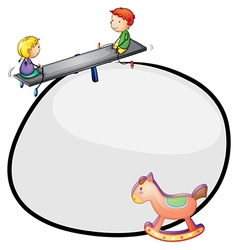 A round template with a toy and kids playing vector image vector image