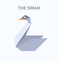swan origami verge flat trend style vector image