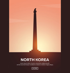 travel poster to north korea landmarks vector image
