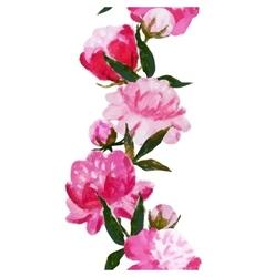 Watercolor floral stripe vector image vector image