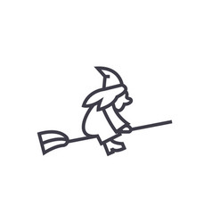 witch on a broomstick line icon sign vector image vector image