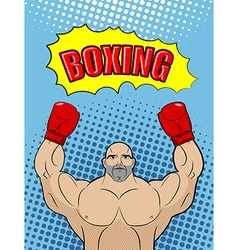 Boxing champion style of pop art with the babble vector image