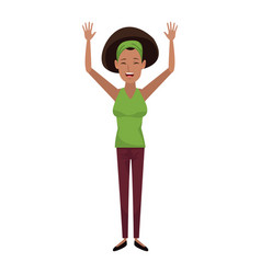 character woman female waving hand happiness vector image