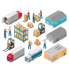 isometric warehouse logistic icon set vector image